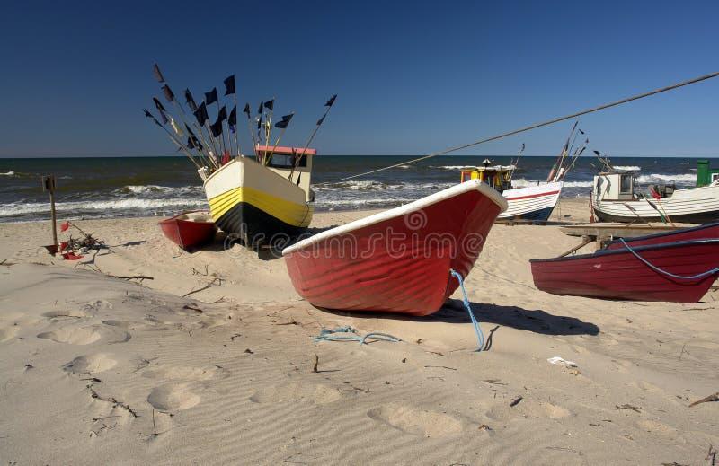 Boats on beach stock photo