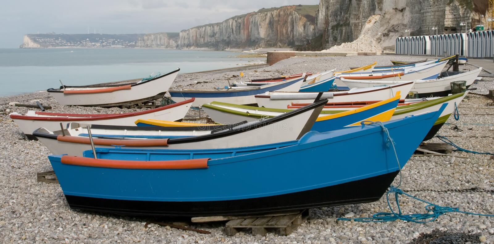 Boats on beach. Small boats lying on the beach in Yport, France stock photography