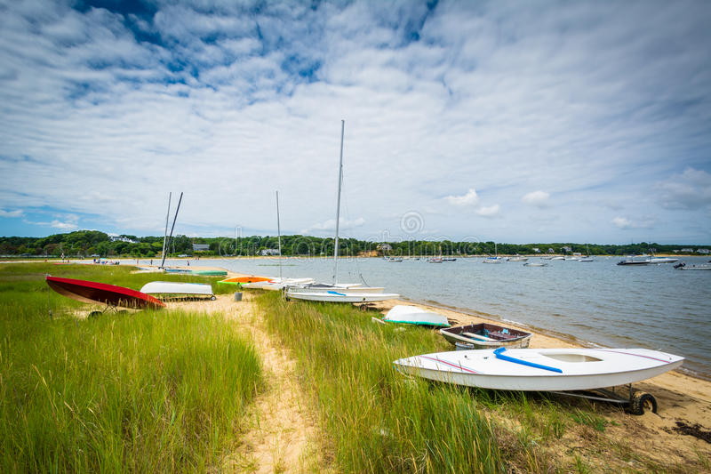 Boats on a beach, in Chatham, Cape Cod, Massachusetts. royalty free stock photography