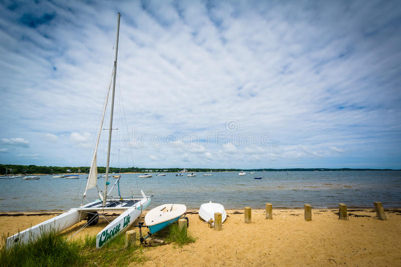 Boats on a beach, in Chatham, Cape Cod, Massachusetts. royalty free stock photo