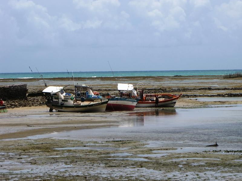 Boats on the beach in Maceio, Brazil. Boats on the beach in Maceio, Brazil stock photo