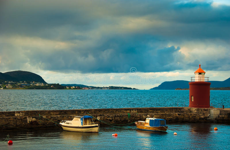 Download Boats And Beacon In Harbor. Alesund, Norway Stock Image - Image: 20661887