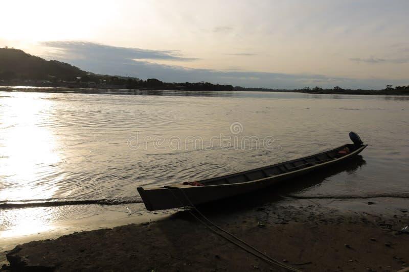 Boats on Beni river, Rurrenabaque, Bolivia. Beni and La Paz Region stock photo