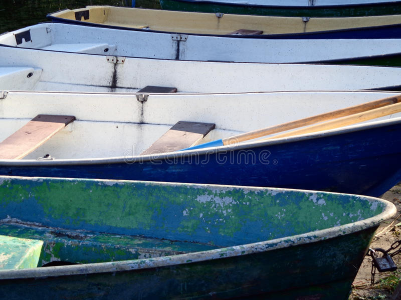 Boats. At the berth on the shore of the river stock image