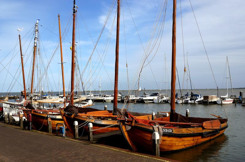 Boats. Boat dock in Volendam Netherlands royalty free stock photos