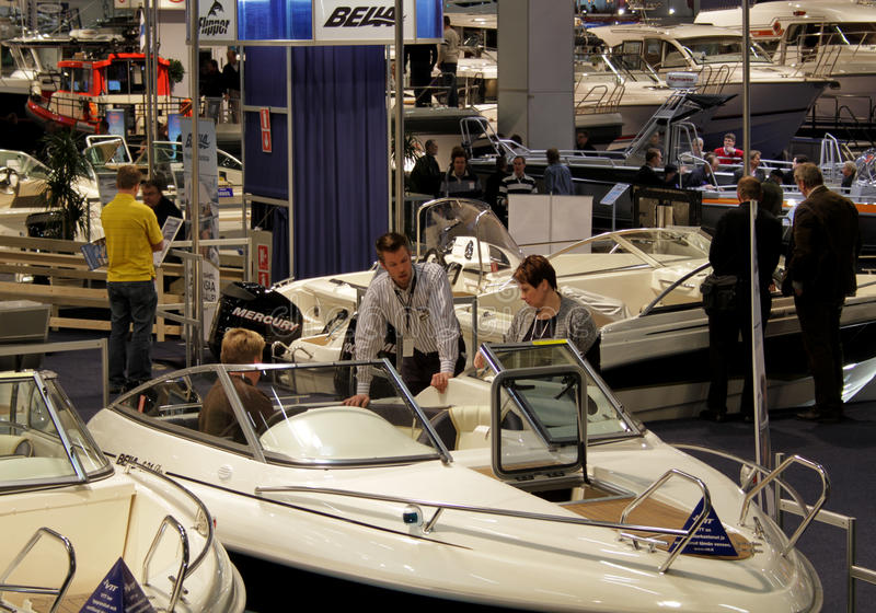 Boats at Boat Show. Helsinki International Boat Show 2010, Boats and stand of Bella Boats, February 15, 2010 in Helsinki, Finland
