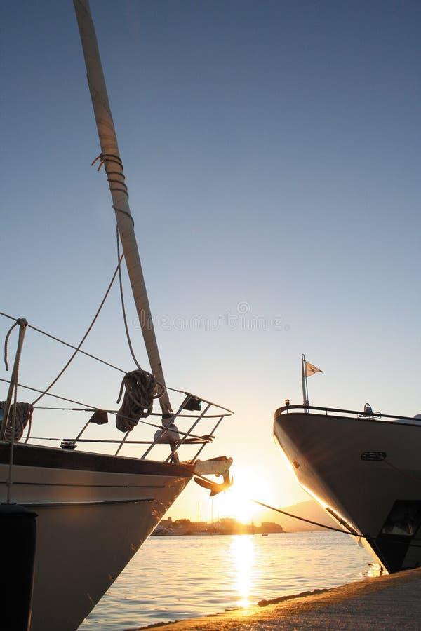 Boats bows royalty free stock photos