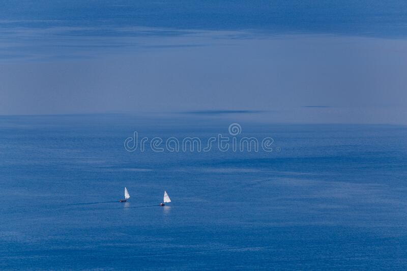 Boats on Bracciano lake in Lazio province. Italy stock photography