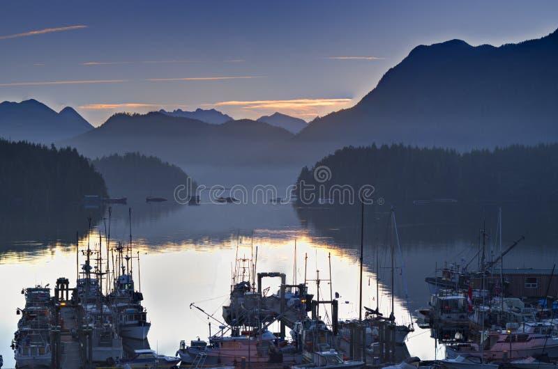 Boats in calm harbor marina at sunrise Tofino British Columbia Canada. Sunrise over the mountains with boats in the marina. Tofino British Columbia Canada stock images
