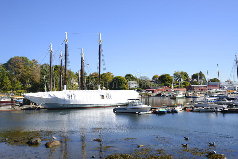 Boats in the Camden Harbor in Maine stock photography