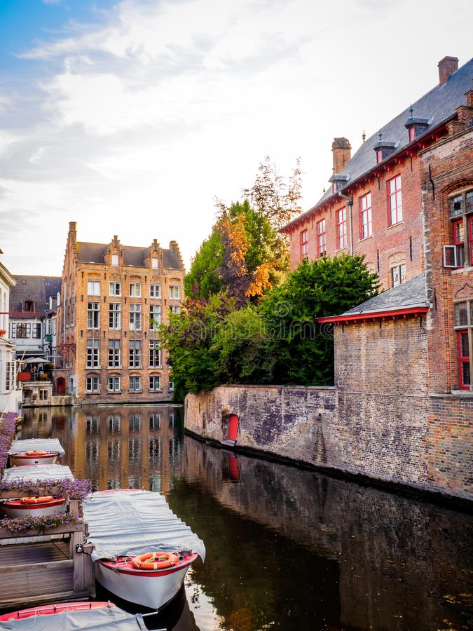 005-19 Boats on a canal corner in Bruges royalty free stock images