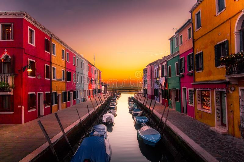 Boats on canal in Venice stock photography