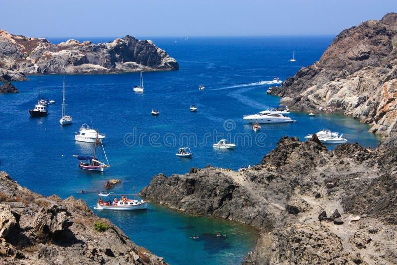Boats at Cap de Creus, Girona, Costa Brava, Spain stock photos