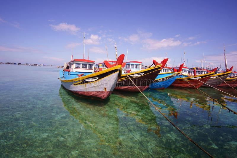 Boats on the clear sea stock photo