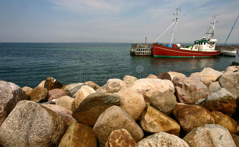 Boats on the coast in Denmark stock image