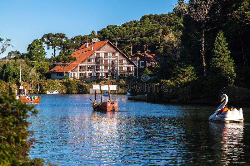 Download Boats On Dark Lake Gramado Brazil Editorial Stock Photo - Image: 25409843