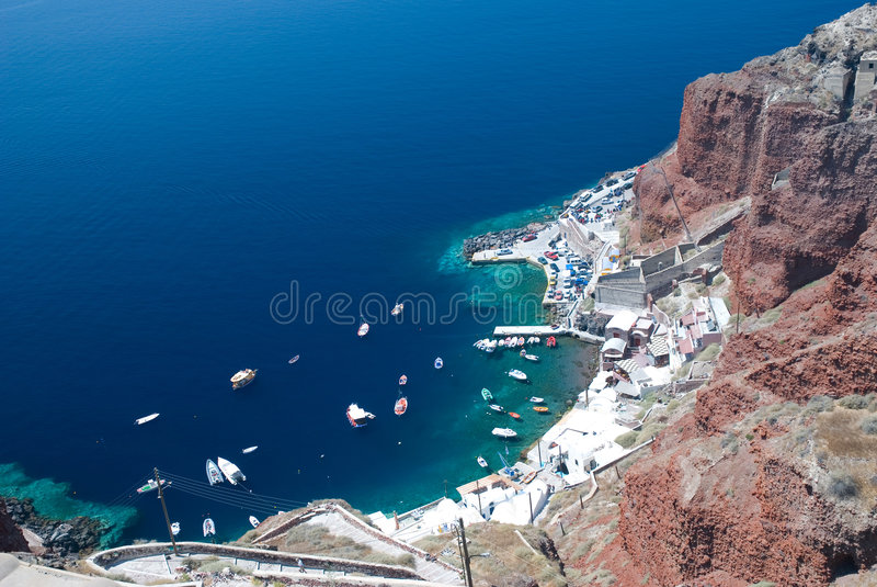 Download Boats At The Dock On Santorini Royalty Free Stock Photography - Image: 6502027
