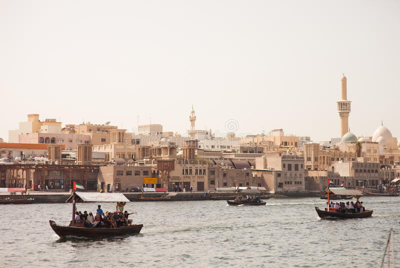 Boats at the Dubai Creek royalty free stock photography