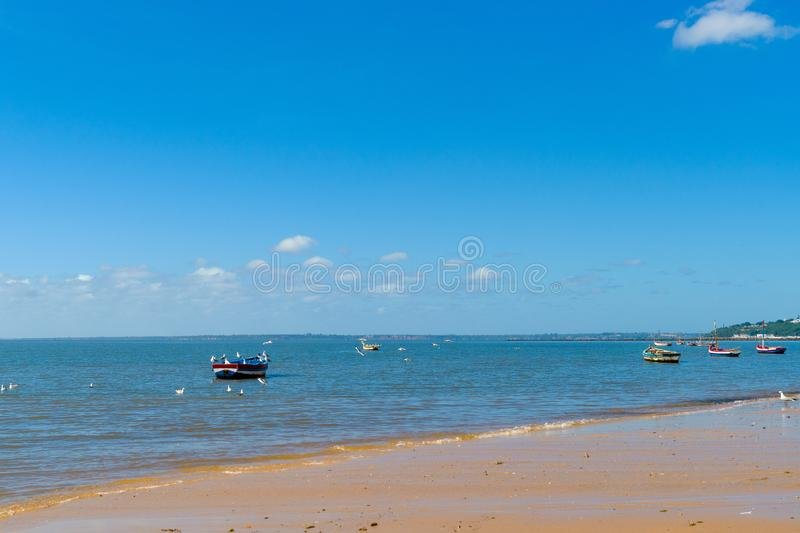 Boats of fishermen on the Indian Ocean in Maputo Mozambique. Africa royalty free stock photos