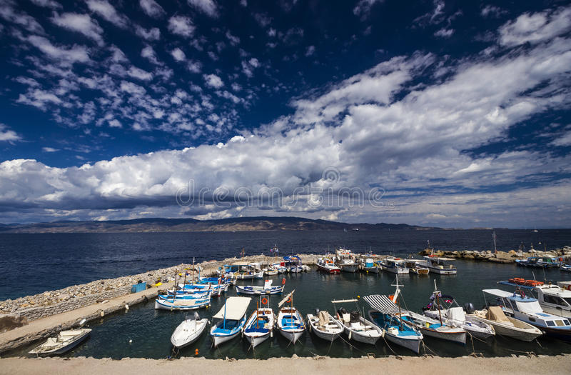 Boats at a fishing port in Hydra island, Greece. royalty free stock photos