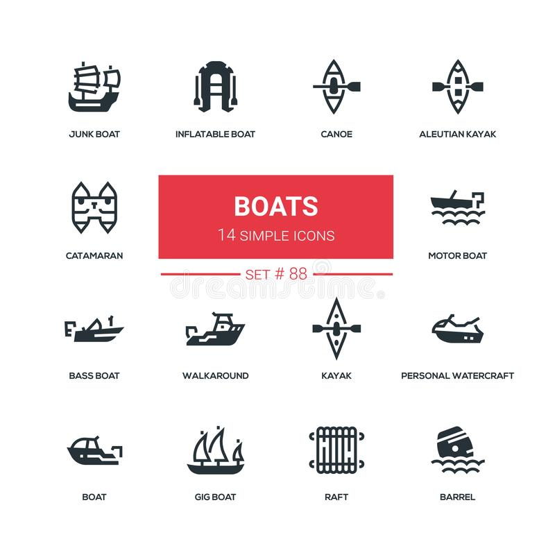 Boats - flat design style icons set stock illustration