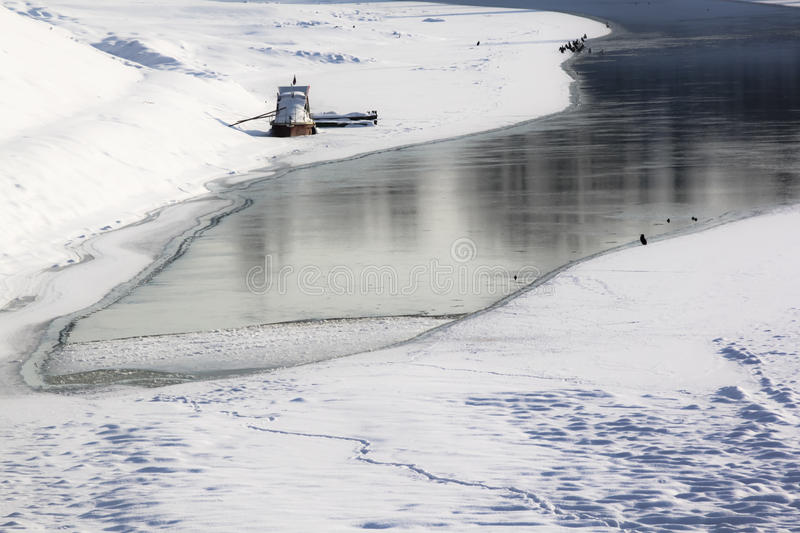 Download Boats on frozen river stock photo. Image of scene, edge - 23714138