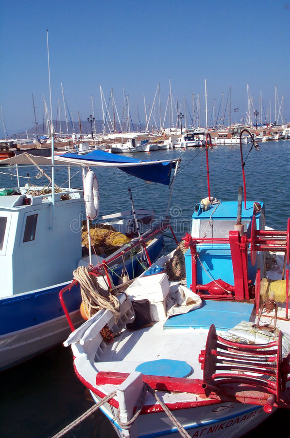 Boats in Greece stock images