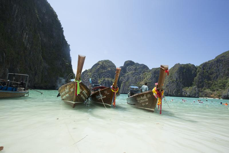 Boats had anchored at Maya Beach in Krabi, Thailand. Boats had anchored in Maya Beach where is very popular destination in Thailand stock photo