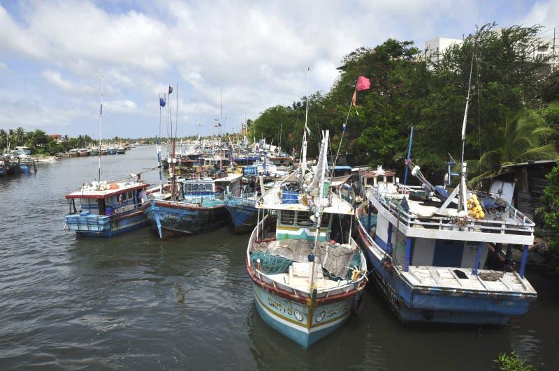 Boats on Hamilton canal, Negombo, Sri Lanka royalty free stock image