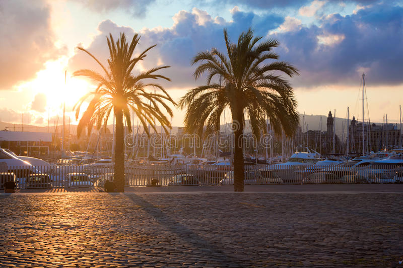 Boats in the harbor of Barcelona stock photography