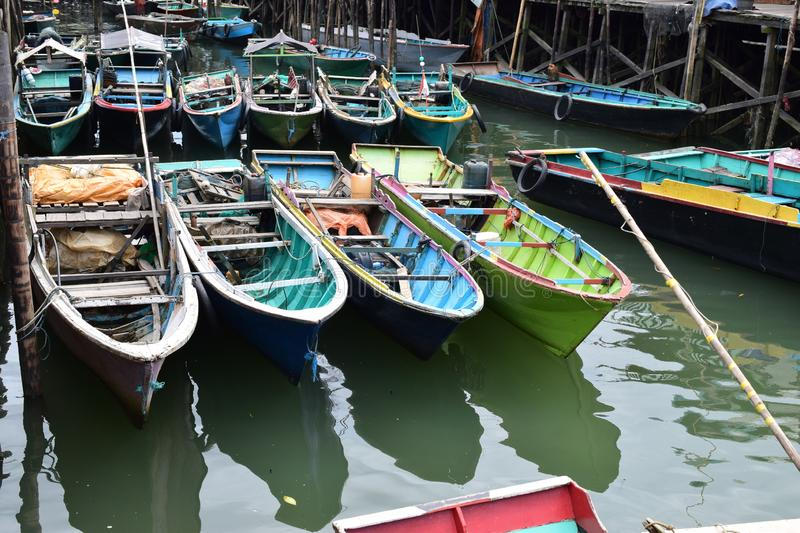 Boats in harbor canal stock photography