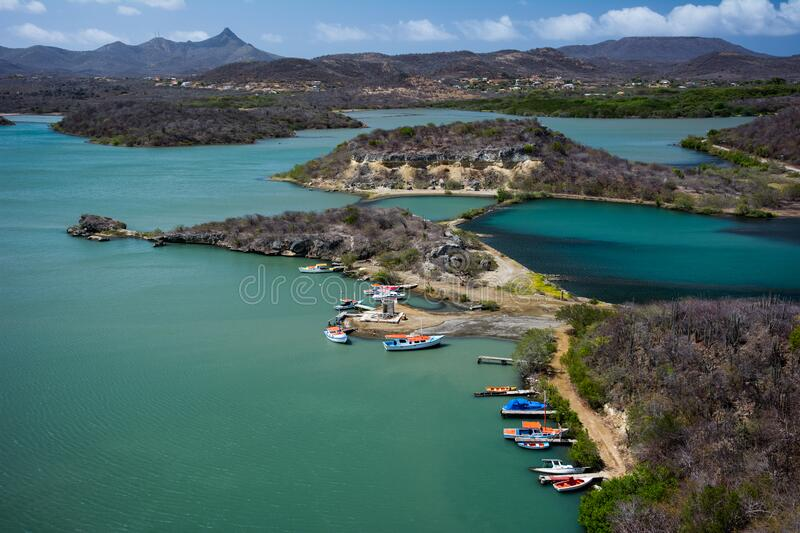Boats in harbor, Curacao, Dutch Antilles royalty free stock image