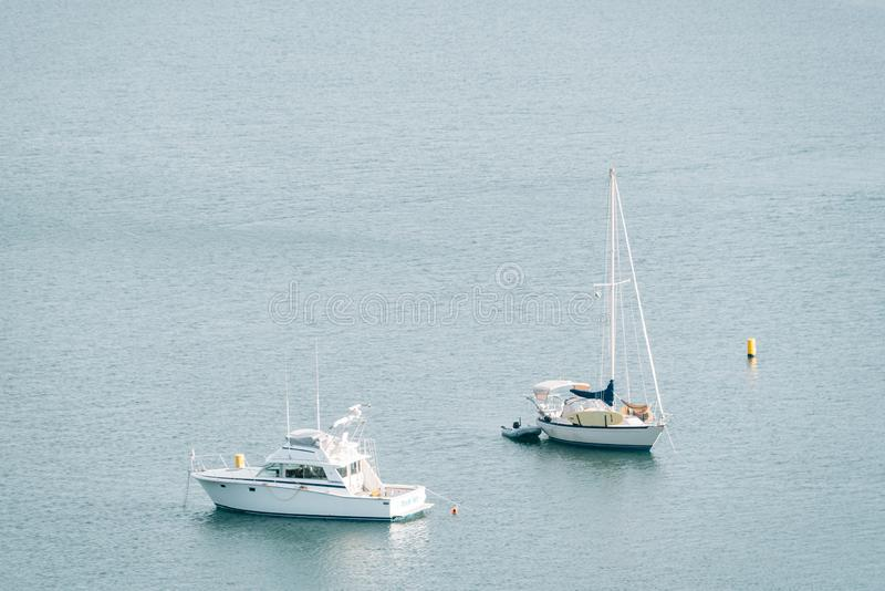Boats in the harbor, in Dana Point, Orange County, California royalty free stock images