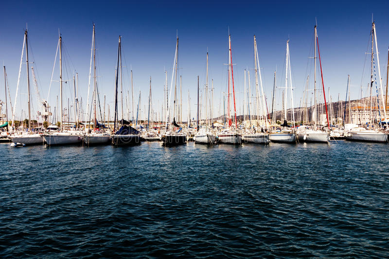 Boats in harbor. Boats moored in Toulon harbor, France royalty free stock photography