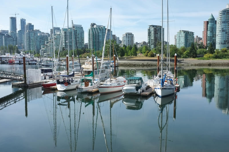 Boats in Harbor, Vancouver, Canada. Vancouver, Canada - June 15, 2015: Boats docked at a marina in Vancouver, Canada, with tall buildings in the background royalty free stock images