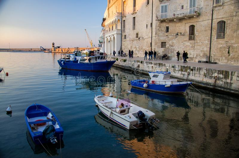 Boats in harbour of Monopoli town, Puglia Apulia, Southern Italy royalty free stock photos