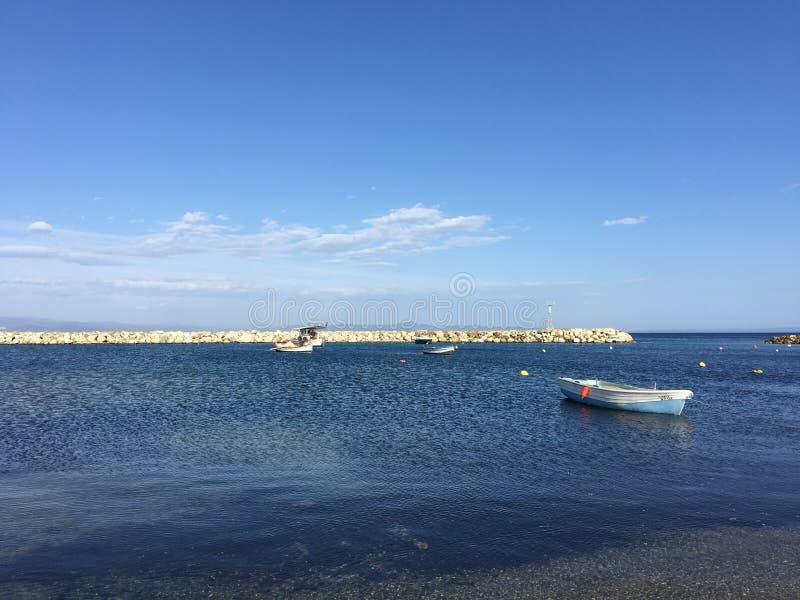 Boats in the harbour. Of Nea Fokea Greece stock image