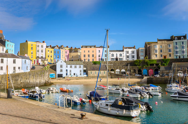 Boats in Harbour in Tenby and Blue Sky royalty free stock image