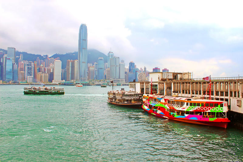 Boats in Hong Kong stock images