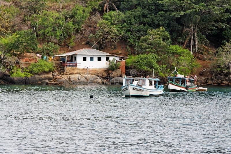 Boats and House Paraty Bay Rio de Janeiro Brazil stock image