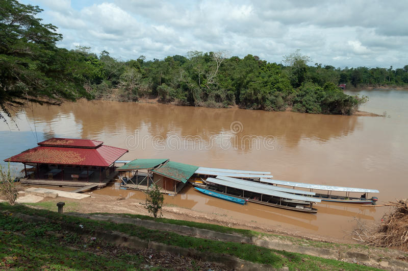 Boats in Kuala Tembeling stock image