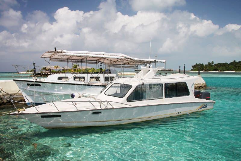 Boats in lagoon