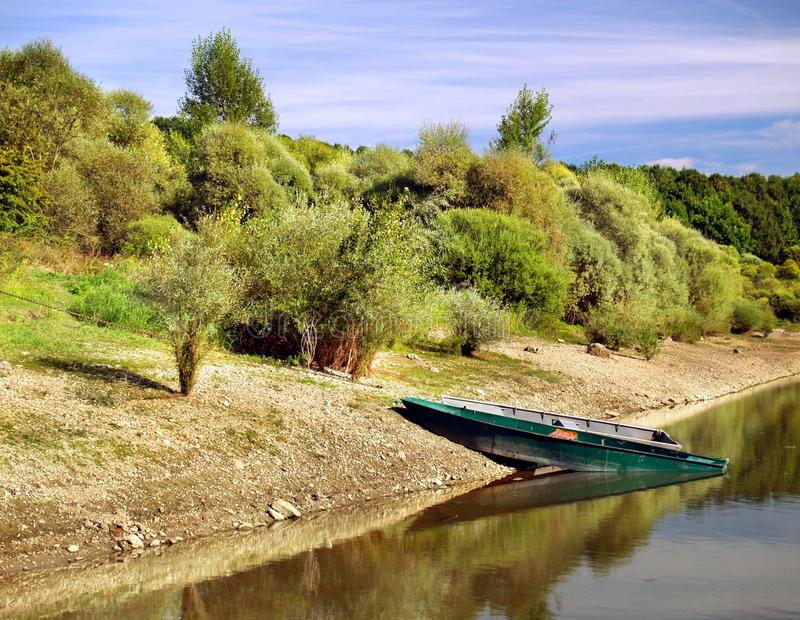 Boats by the lake. stock photo