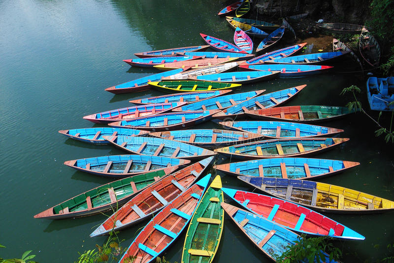 Download Boats at lake stock photo. Image of pokhara, lake, travel - 12452432