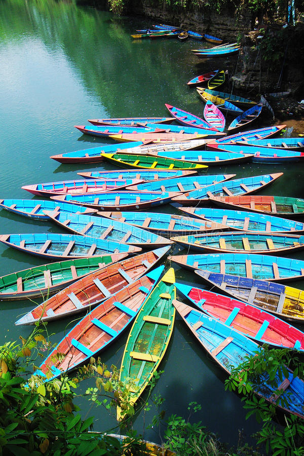 Download Boats at lake stock photo. Image of colorful, blue, boating - 12452456