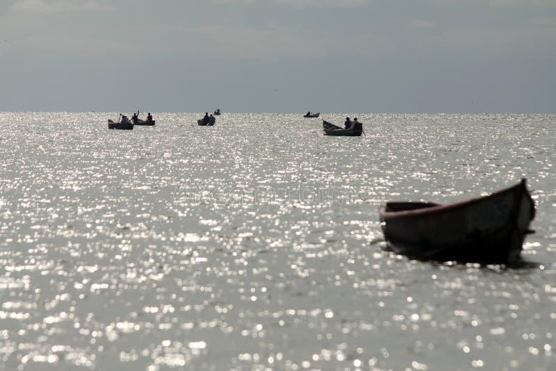 Boats on Lake Albert stock photography