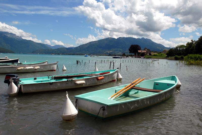 Boats on Lake Annecy stock photo