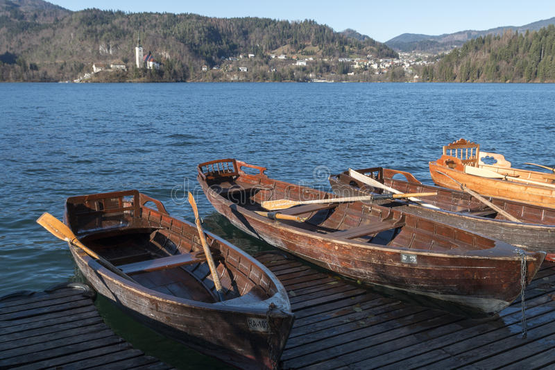 Boats on the lake of Bled stock images