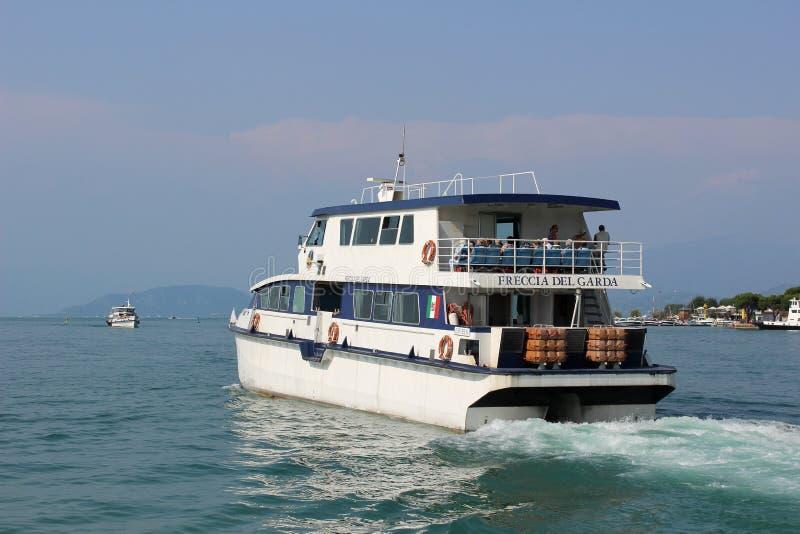 Boats on Lake Garda at Peschiera del Garda Italy stock photography