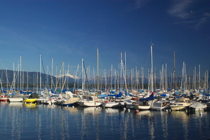 Boats on lake Geneva stock image